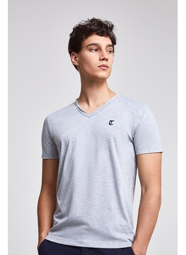 TWN Slim Fit Düz T-Shirt Gri